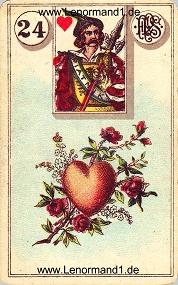 Herz, antikes Piatnik Lenormand