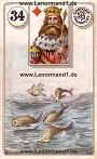 Fische von den antiken Dondorf Lenormandkarten