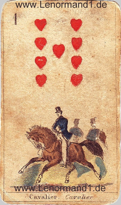 Der Reiter antike Lenormand Tageskarte heute