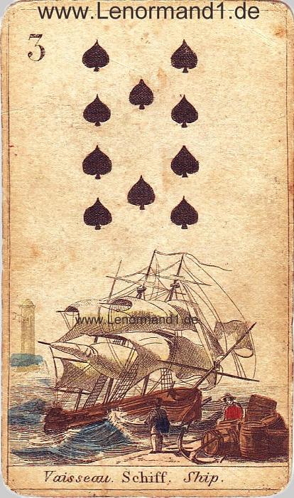 Das Schiff von den antiken Lenormandkarten
