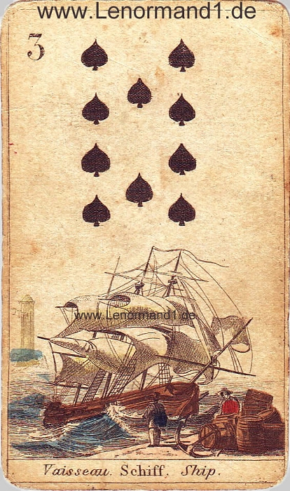 Das Schiff antike Lenormand Tageskarte heute
