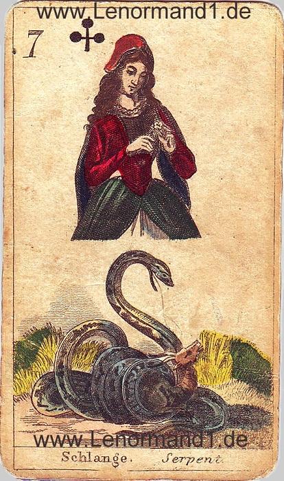 Die Schlange von den antiken Lenormandkarten