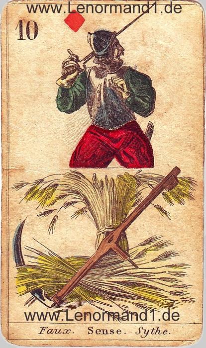 Die Sense von den antiken Lenormandkarten