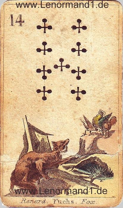 Der Fuchs von den antiken Lenormandkarten