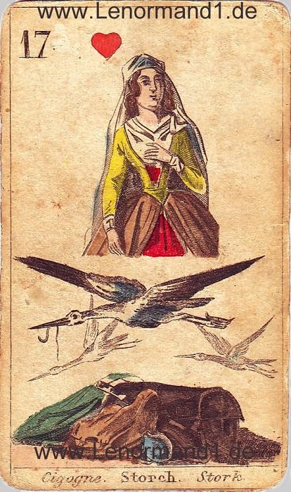 Der Storch von den antiken Lenormandkarten