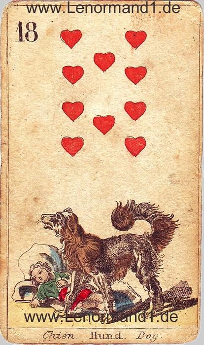 Der Hund von den antiken Lenormandkarten