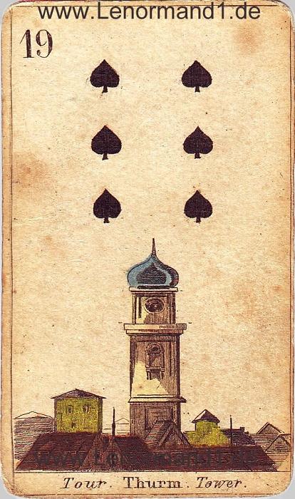 Der Turm antike Lenormand Tageskarte heute