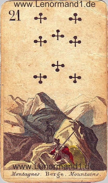 Der Berg von den antiken Lenormandkarten
