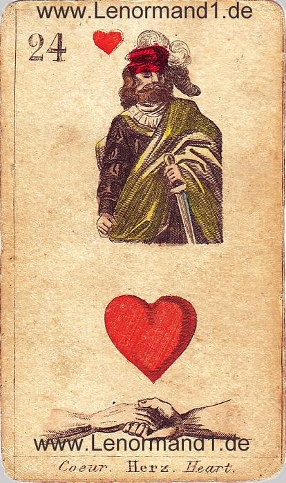 Das Herz von den antiken Lenormandkarten