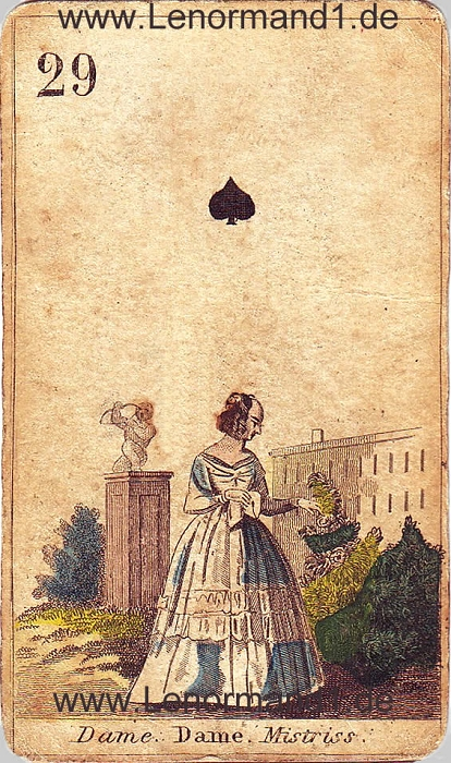 Die Dame von den antiken Lenormandkarten