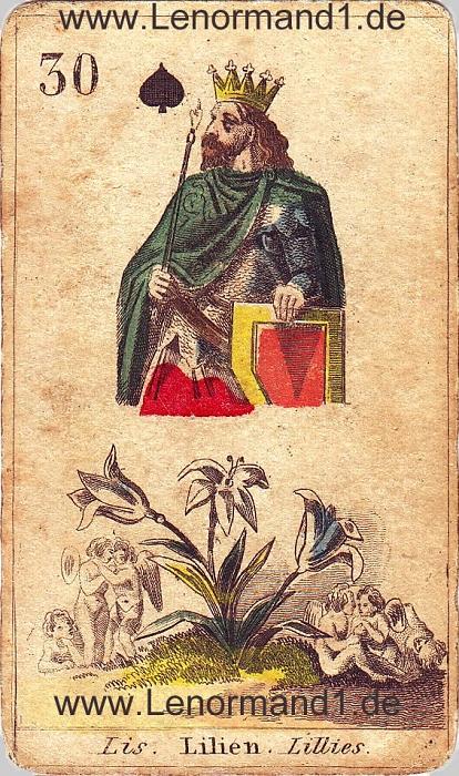 Die Lilie von den antiken Lenormandkarten