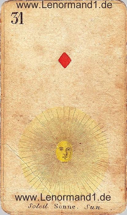 Die Sonne von den antiken Lenormandkarten