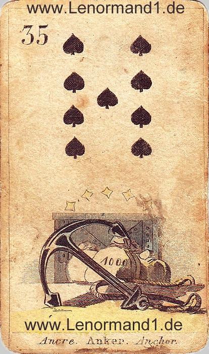Der Anker von den antiken Lenormandkarten