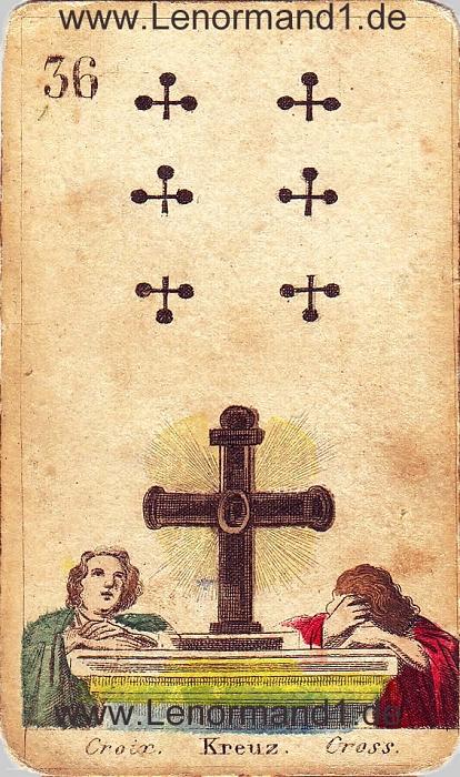 Das Kreuz von den antiken Lenormandkarten