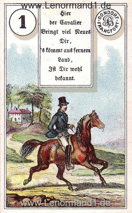 Der Reiter von dem antiken Dondorf Lenormand mit Versen