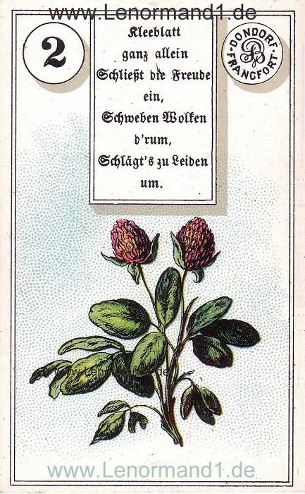 Der Klee von dem antiken Dondorf Lenormand mit Versen