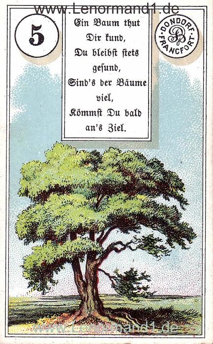 Der Baum von dem antiken Dondorf Lenormand mit Versen
