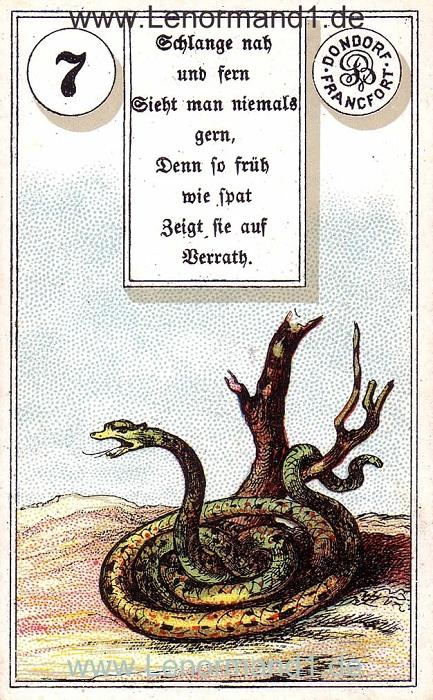 Die Schlange Dondorf Verse Lenormand Tageskarte heute