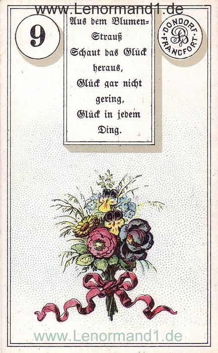 Die Blumen von dem antiken Dondorf Lenormand mit Versen