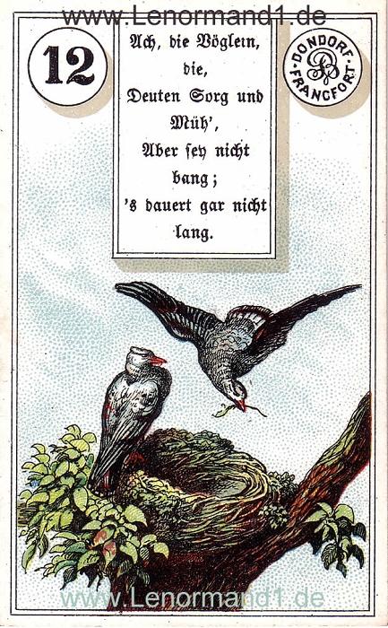 Die Vögel von dem antiken Dondorf Lenormand mit Versen