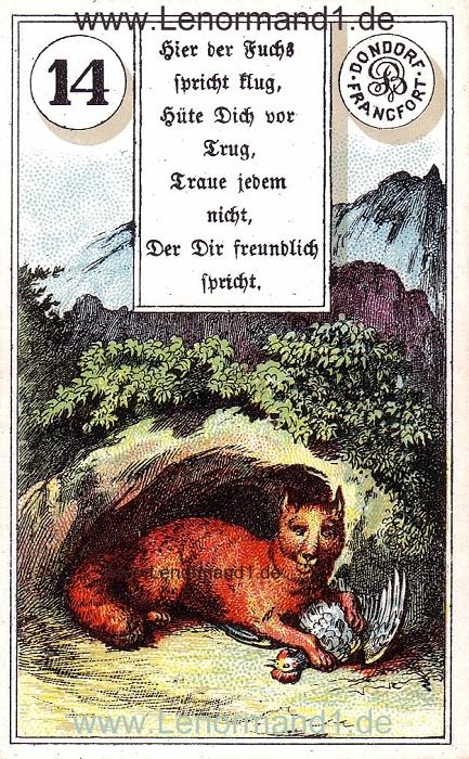 Der Fuchs von dem antiken Dondorf Lenormand mit Versen
