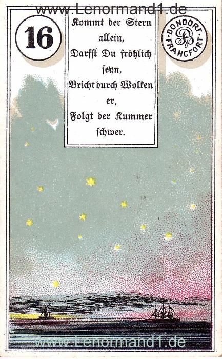 Die Sterne von dem antiken Dondorf Lenormand mit Versen