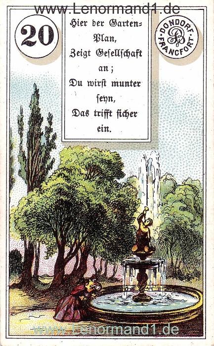 Der Park von dem antiken Dondorf Lenormand mit Versen