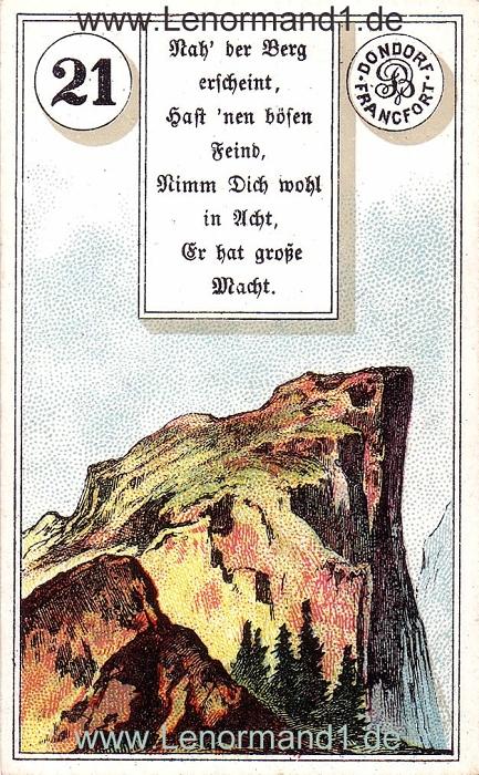Der Berg von dem antiken Dondorf Lenormand mit Versen