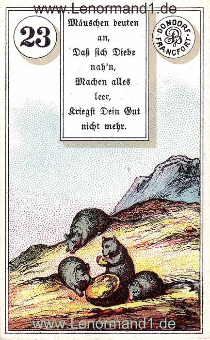 Die Mäuse von dem antiken Dondorf Lenormand mit Versen