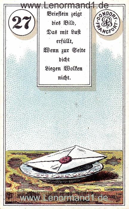 Der Brief von dem antiken Dondorf Lenormand mit Versen