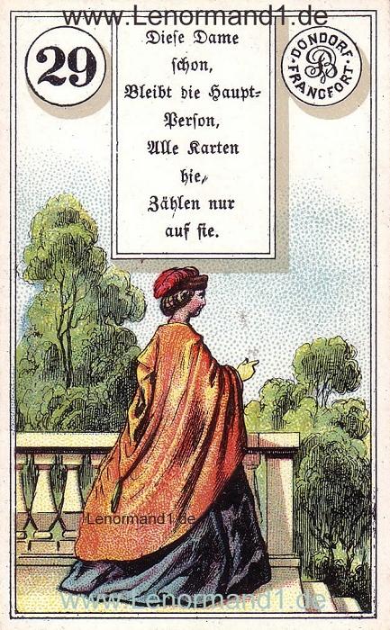 Die Dame Dondorf Verse Lenormand Tageskarte heute