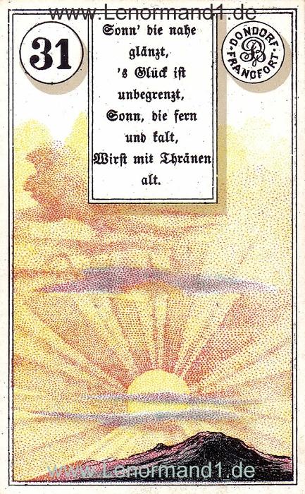 Die Sonne von dem antiken Dondorf Lenormand mit Versen