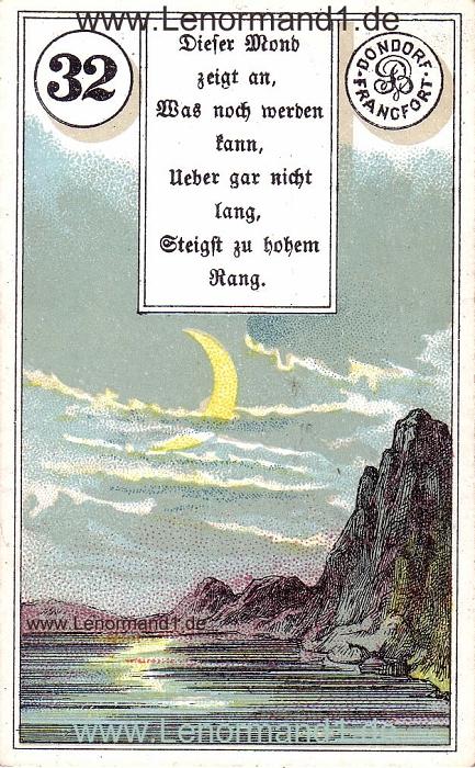 Der Mond von dem antiken Dondorf Lenormand mit Versen