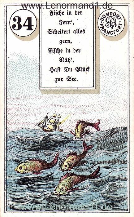 Die Fische von dem antiken Dondorf Lenormand mit Versen