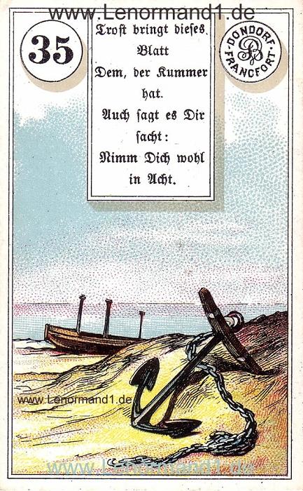 Der Anker Dondorf Verse Lenormand Tageskarte heute