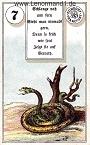Schlange von den antiken Dondorf Lenormandkarten mit Versen