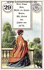 Dame von den antiken Dondorf Lenormandkarten mit Versen