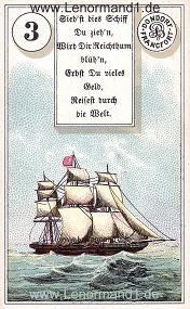 Schiff, antikes Dondorf Lenormand mit Versen