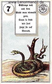 Schlange, antikes Dondorf Lenormand mit Versen