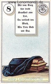 Sarg, antikes Dondorf Lenormand mit Versen