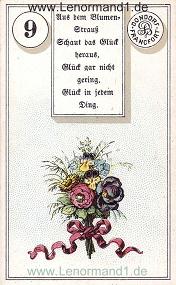 Blumen, antikes Dondorf Lenormand mit Versen