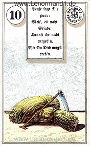 Sense, antikes Dondorf Lenormand mit Versen