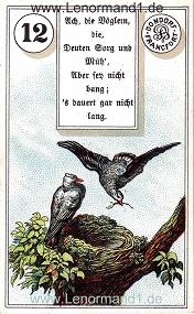 Vögel, antikes Dondorf Lenormand mit Versen