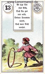 Kind, antikes Dondorf Lenormand mit Versen