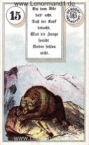 Bär, antikes Dondorf Lenormand mit Versen