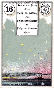 Sterne, antikes Dondorf Lenormand mit Versen