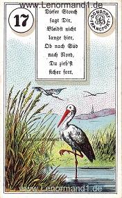 Storch, antikes Dondorf Lenormand mit Versen