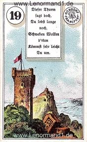 Turm, antikes Dondorf Lenormand mit Versen