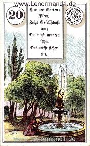 Park, antikes Dondorf Lenormand mit Versen