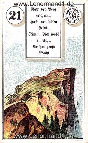 Berg, antikes Dondorf Lenormand mit Versen